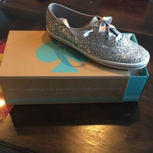 Kate Spade silver glitter Keds - size 9 - New!